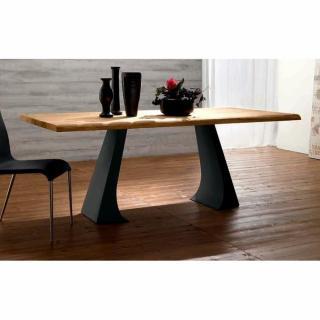 ARCADE Table repas en chêne naturel, piétement en métal anthracite
