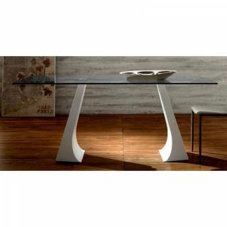 ARCADE Table repas plateau en verre, piétement en métal blanc