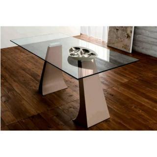 ARCADE Table repas plateau en verre, piétement en métal taupe