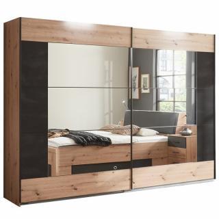 Armoire coulissante BURNABY design 270 cm chêne portes miroir décor graphite