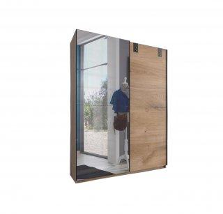 Armoire EMY style industriel 135 cm coulissante chêne poutre / miroir