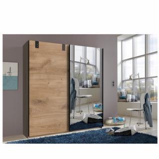 Armoire EMY style industriel 180 cm coulissante chêne poutre / miroir