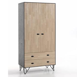 Armoire GABIN en bois massif 2 portes/2 tiroirs