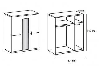 Armoire 3 portes miroir CARAMELLA largeur 135 cm chêne rechampi chrome brillant.