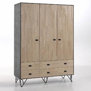 Armoire GABIN en bois massif 3 portes/4tiroirs