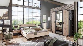 Armoire VERNON style industriel 180 cm 4 portes pin argenté vieilli