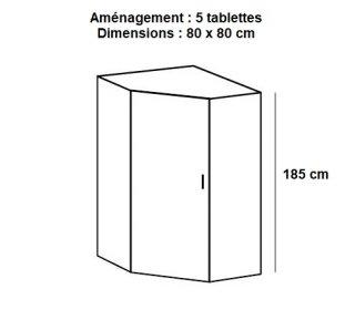 Armoire de rangement d'angle LUND 1 porte blanc mat 80 x 80 cm