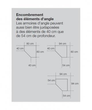 Armoire de rangement d'angle LUND 1 porte chêne naturel 80 x 80 cm