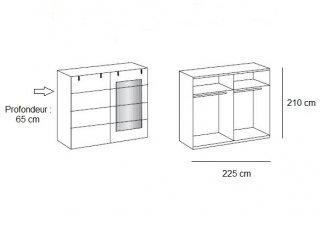 Armoire coulissante VERNON style industriel 1 porte chêne 1 poutre porte miroir