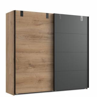 Armoire coulissante VERNON style industriel 225 cm chêne poutre et graphite