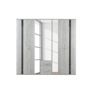 Armoire DENVER 225cm chêne blanc à portes battantes