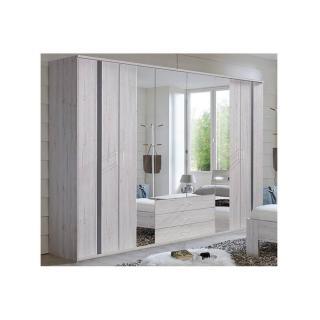 Armoire DENVER 270cm chêne blanc à portes battantes