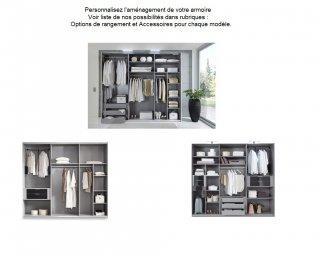 Armoire 1/2 penderie, 1/2 lingère 4 portes EVA largeur 225 blanc / chêne châtaigne