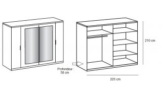 Armoire 4 portes EVA largeur 225 chêne graphite / chêne châtaigne