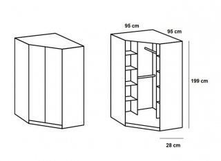 Armoire dressing d'angle KROOS 2 portes 95*95 laquée blanc brillant