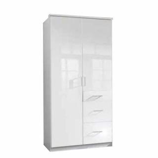 Armoire penderie COOPER blanche avec 2 portes battantes et 3 tiroirs