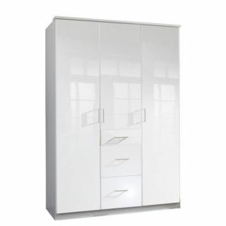 Armoire penderie COOPER blanche avec 3 portes battantes et 3 tiroirs