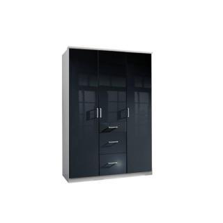 Armoire penderie COOPER noire avec 3 portes battantes et 3 tiroirs