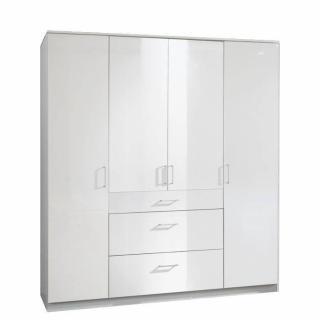 Armoire penderie COOPER blanche avec 4 portes battantes et 3 tiroirs