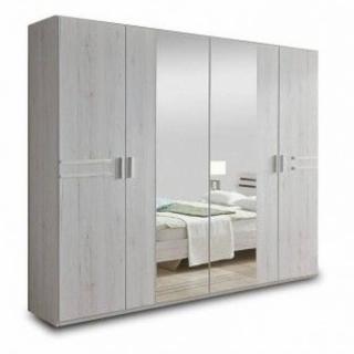 Armoire IDAHO 4 portes 2 miroirs 225 cm chêne blanc