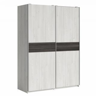 Armoire/Dressing  MAGDALENA style industriel chêne gris 2 portes coulissantes