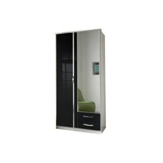 Armoire penderie KROOS noire et porte miroir avec 2 tiroirs