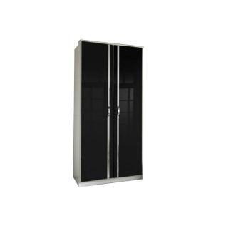 Armoire penderie KROOS blanche avec 2 portes battantes noires