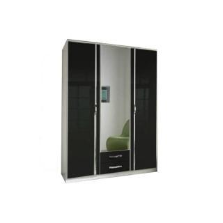Armoire penderie KROOS noire et porte centrale miroir
