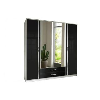 Armoire penderie KROOS blanche et portes centrales miroirs