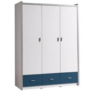Armoire dressing KYLE 3 portes blanche et 3 tiroirs bleu