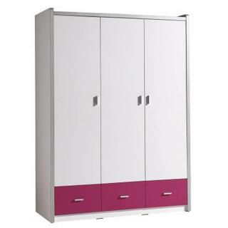 Armoire dressing KYLE 3 portes blanche et 3 tiroirs fuchsia