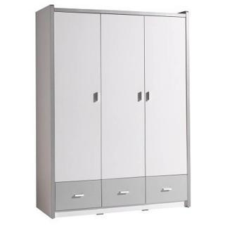 Armoire dressing KYLE 3 portes blanche et 3 tiroirs gris