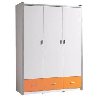 Armoire dressing KYLE 3 portes blanche et 3 tiroirs orange