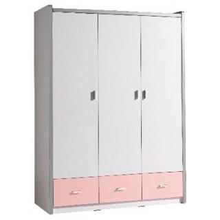 Armoire dressing KYLE 3 portes blanche et 3 tiroirs rose