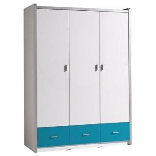 Armoire dressing KYLE 3 portes blanche et 3 tiroirs turquoise