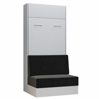 Armoire lit escamotable DYNAMO SOFA canapé intégré blanc tissu anthracite 90*200 cm