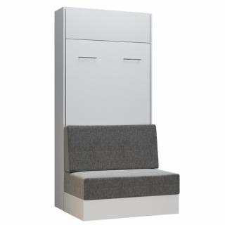 Armoire lit escamotable DYNAMO SOFA canapé intégré blanc tissu gris 90*200 cm