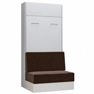 Armoire lit escamotable DYNAMO SOFA canapé intégré blanc tissu marron 90*200 cm