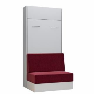 Armoire lit escamotable DYNAMO SOFA canapé intégré blanc tissu rouge 90*200 cm