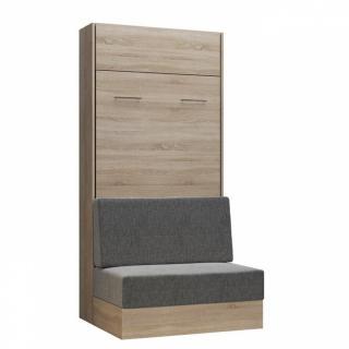 Armoire lit escamotable DYNAMO SOFA canapé intégré chêne naturel tissu gris 90*200 cm
