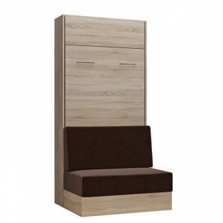 Armoire lit escamotable DYNAMO SOFA canapé intégré chêne naturel tissu marron 90*200 cm