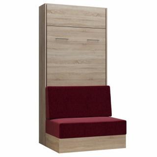 Armoire lit escamotable DYNAMO SOFA canapé intégré chêne naturel tissu rouge 90*200 cm