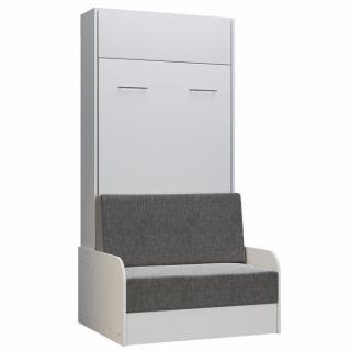 Armoire lit escamotable DYNAMO SOFA canapé accoudoirs blanc tissu gris 90*200 cm