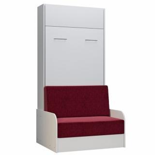 Armoire lit escamotable DYNAMO SOFA canapé accoudoirs blanc tissu rouge 90*200 cm