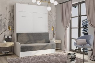 Armoire lit escamotable DYNAMO SOFA canapé accoudoirs blanc mat et microfibre gris couchage 140*200 cm