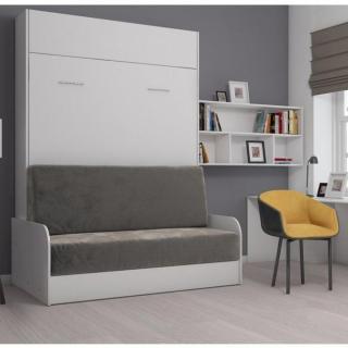 Armoire lit escamotable STUDIO SOFA canapé accoudoirs blanc mat et microfibre gris couchage 140*200 cm