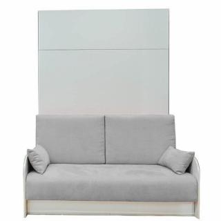 Armoire lit escamotable à ouverture électrique BOX 140 cm canapé coffre intégré