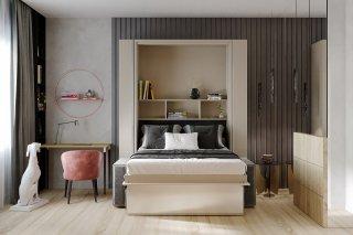 FALCON SOFA lit escamotable façade blanc brillant canapé gris et rangements intégré 140*200 cm