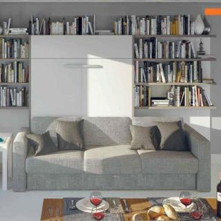 Armoire lit à ouverture assistée TRACCIA 140 x 200 cm canapé intégré accoudoirs larges et chauffeuse droite