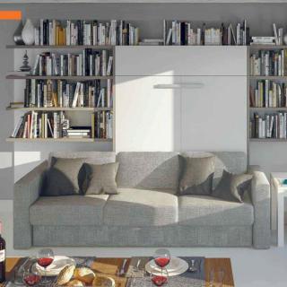 Armoire lit à ouverture assistée TRACCIA 140 x 200 cm canapé intégré accoudoirs larges et chauffeuse gauche